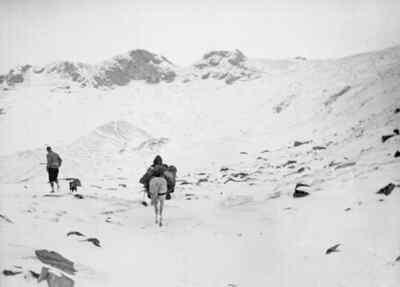 Bergsteiger mit Pferd