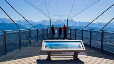 Three people at a viewing platform