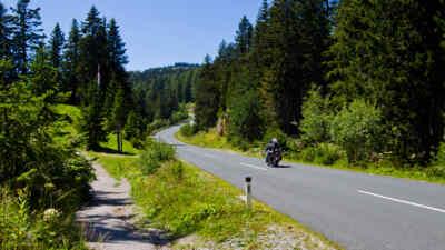 Motorcyclist on the alpine road