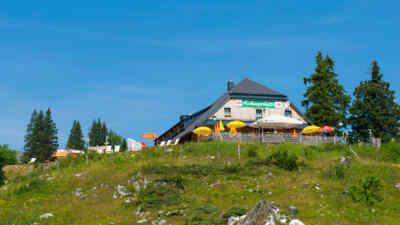 Blick auf die Aichingerhütte
